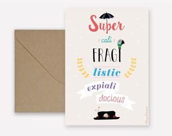 Mary Poppins Supercalifragilisticexpialidocious card - kraft envelope