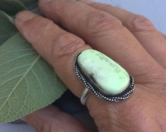 Chrysoprase Ring, Sterling Silver Ring, Statement Ring, Size 7.25
