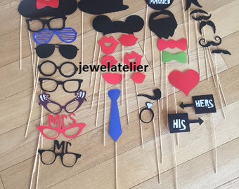 Wedding Photo Booth Props 34 Piece Set - Party Photo Props - Wedding Party Favor, Bridal Shower Props, Engagement Props