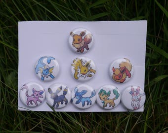 "Pokemon Eevee evolution sprite collection - 9 button set - 1"" video game pixel art badges pins enamel pinbacks"