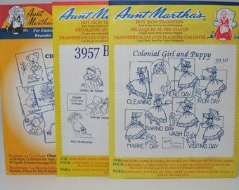 Aunt Martha's Hot Iron Transfers Set of 3- #3930, 3957, 3829- Days of the Week, To Do List