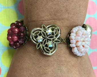 Upcycled Repurposed Vintage Cluster Earring Bracelet