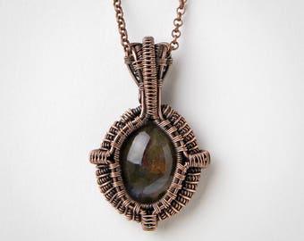 Moss Agate Necklace - Moss Agate - Moss Agate Pendant - Wire Wrapped Jewelry - Gemstone Pendant - Copper Jewelry