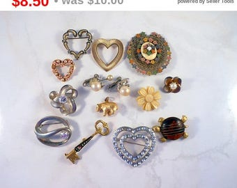 Eclipse Sale Vintage Costume Jewelry Lot For Repair Repurpose Upcycle Recycle Mostly Brooches Includes Pair of Vendome Earrings  FREE SHI...