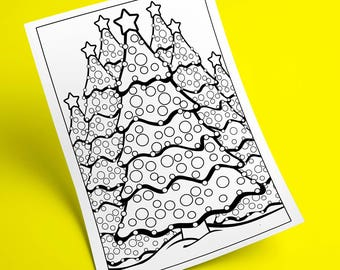 Winter Coloring Page Of Christmas Tree Printable PDF To Color Activity Sheet For