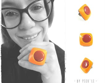 Orange and Red polymer clay Adjustable ring