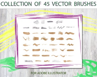 Collection of 45 vector hand painted Brushes Hand-drawn brush borders Brush stroke clipart Digital clipart Hand-painted art brushes Clip art