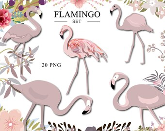 Flamingos clipart Tropical flamingos Summer clipart Flamingo clip art Pink flamingo Floral Exotic clipart Summer wreath Planner supplies