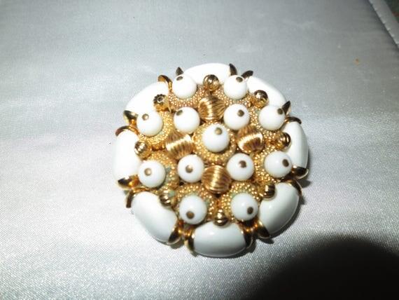 Lovely vintage large goldtone white lucite brooch