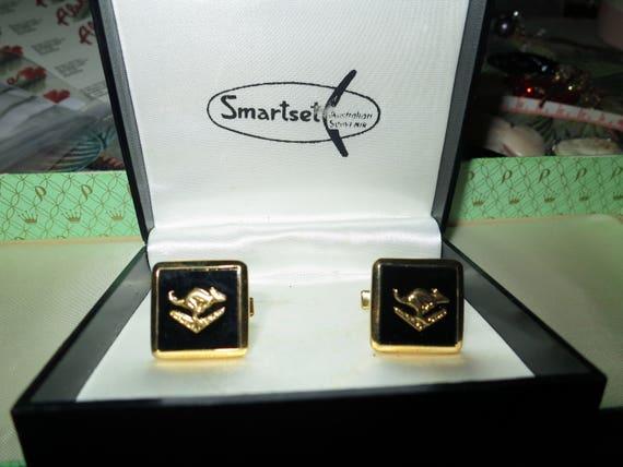 Vintage goldtone Smartset boxed black and gold Australian kangaroo cuff links