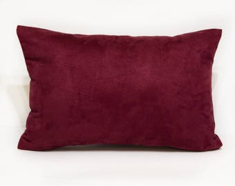Vintage Suede Pillow Cover in Wine,  Wine Pillow Cover in Faux Suede