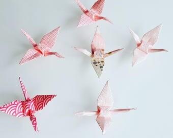 6 origami cranes pink mini