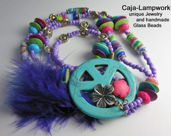Long, turquoise and purple hippy necklace with large peace sign, Lampwork