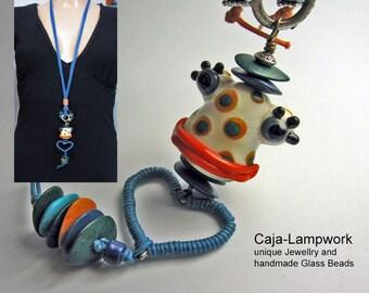 Long frog necklace handmade Lampwork bead