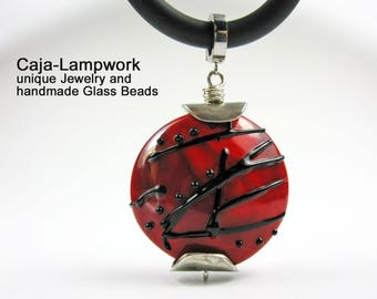 Very large necklace pendant, red-black, artist bead, lampwork bead, lentil bead, solitaire pearl, focal bead