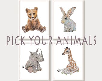 Baby Girl, Baby Boy Nursery Wall Art Prints Animal Nursery Decor Pictures for Babies Room Set of 4 Prints Watercolor Paintings Mix and Match