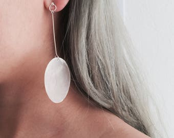 Oversized circle seashell dangle earrings