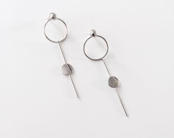 circle bar tiny circle earrings