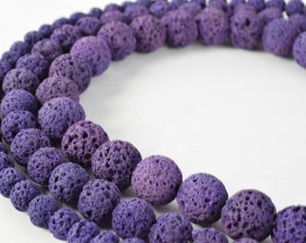 Royal Purple Natural Lava Stone Beads Round 6mm/8mm/10mm 15.5 inch Strand