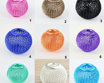 6 PCs Wire Mesh Beads Basketball wives large hole Round Beads 18mm metal jewelry big hoop earring chunky bead jewelry making