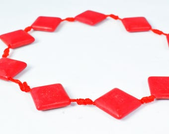 15mm Agate Gemstone Beads Red Agate Stone Beads, Sold by 1 strand  of 17pcs, Smooth Agate Stones,Square Stones,WholesaleAgate