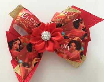 Elena of Avalor Hair Bow Elena of Avalor Bow Elena Bow Elena Hair Bow Disney Bow Disney Princess Bow Princess Elena Bow Red and Gold Elena