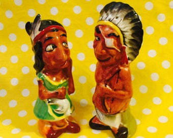 American Indian Chief and Squaw Souvenir Salt and Pepper Shakers made in Japan circa 1950s