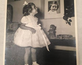 Vintage 1959, Little Girl,The photo Studio F.A Brown, Nairobi Kenya, Photograph by Alice Brown Black White  21χ16cm