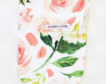 Secret Garden Floral | Watercolor Floral Diaper and Wipe Holder | Coral, Peach | Watercolor Floral Baby Shower Gift
