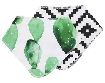 Arid Desert Cactus Baby Bibdana | Watercolor Green Cactus Baby Gift | Cactus Newborn Bib | Drool Bib | Teething Bib | Green, Black & White