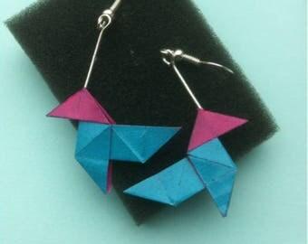 Casserole dish blue origami earrings pink