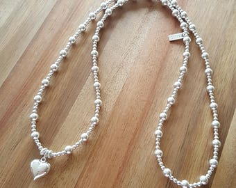 Sterling Silver Bead Necklace/Silver Bead Necklace/Delicate Necklace/Everyday Wear/Long and Layered/Gift For Her/Alexia Jewellery