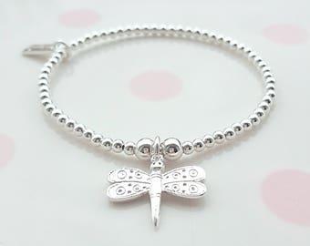 Sterling Silver Dragonfly Bracelet, Sterling Silver Bead Bracelet, Stretch Bracelet, Stacking Bracelet, Beaded Bracelet, Gift For Her,Noodle