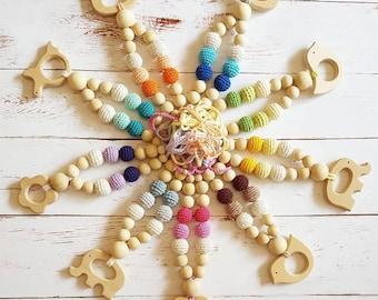 Teething Necklace Newborn BaBy with Toy Babywearing Nursing Breastfeeding  Wooden Organic Сhew Montessori Gift collana allattamento