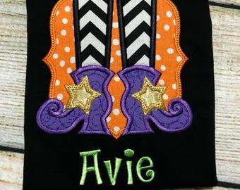 Halloween Shirt - Personalized Halloween Shirt - Girls Halloween Shirt - Happy Halloween - Trick or Treat - Witches Feet Shirt - Candy Shirt