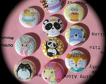 Set of 10 Badges 'Animals'