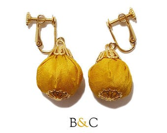 Clip earrings Retro wedding golden yellow silk fabric pouch.
