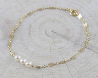 Delicate Pearl Bracelet on sterling silver & 14k gold filled / Gemstone Bridesmaid Bracelet , Gift for her