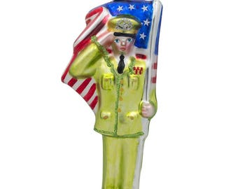 "5.5"" USA Army Soldier with Flag Glass Christmas Ornament"