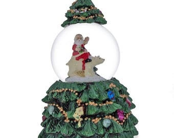 "6"" Santa Riding on a Polar Bear in Rotating Christmas Tree Music Snow Globe"