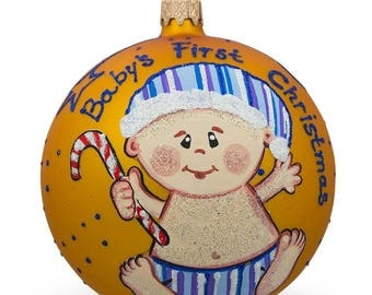 """4"""" Boy with Candy Cane Glass Ball Baby's First Christmas Ornament"""