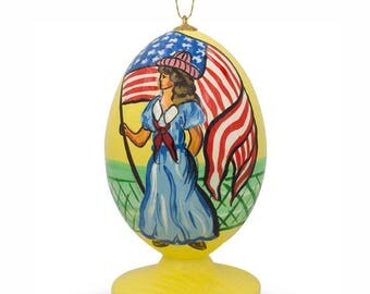 "3.5"" Girl Celebrating USA Independence with American Flag Christmas Ornament"