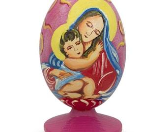 "3.5"" Mary Holding Jesus Wooden Figurine"