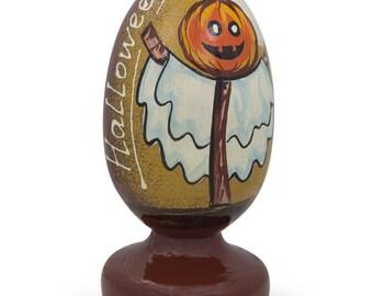 """3.5"""" Halloween Pumpkin Scarecrow Wooden Figurine"""