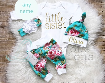 Baby Girl Coming Home Outfit  Newborn Girl Outfit  Little Sister Outfit Personalized Baby Outfit Floral Outfit  Baby Shower Gift Aqua Floral