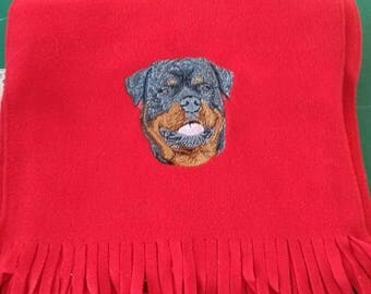 Embroidered Rottweiler Soft Fleece Scarf