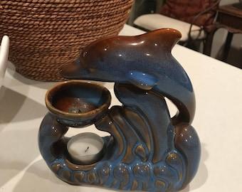 Beautiful cobalt blue dolphin oil warmer