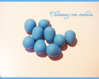 Set of 9 small Easter egg blue turquoise polymer Fimo