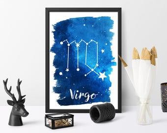 Virgo, printable, watercolour, zodiac print, gift for her, watercolour galaxy, astrology art, wall art, instant download,