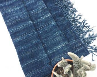 Vintage Mossi, African Indigo mud cloth, Rare XL size plus fringe! Bogolan, Denim Blue shibori